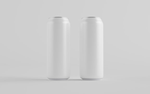 16 oz. / 500ml Aluminium Can Mockup - Two Cans. Blank Label.  3D Illustration