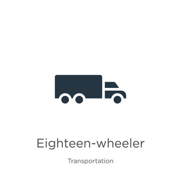 Eighteen-wheeler icon vector. Trendy flat eighteen-wheeler icon from transportation collection isolated on white background. Vector illustration can be used for web and mobile graphic design, logo,