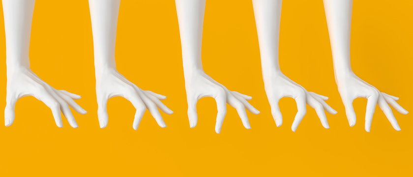 Set of woman's white hand measuring, showing different sizes. Hand gestures holding from above something big and small. Isolated on yellow. 3d illustration