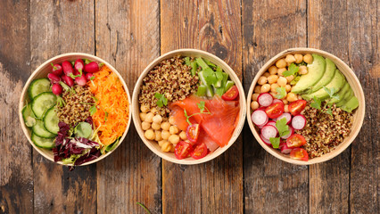 Wall Mural - assorted of buddha bowl- vegetable salad