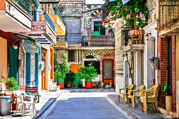 Most beautiful villages of Greece - unique traditional Pyrgi in Chios island known as the