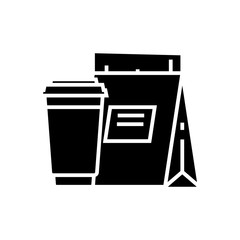 Takeout food black icon, concept illustration, vector flat symbol, glyph sign.