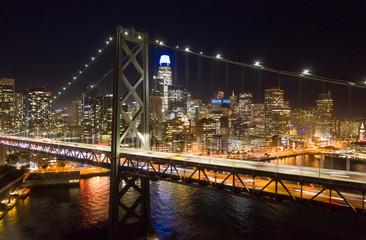 Fototapete - San Francisco downtown buildings skyline night bay bridge