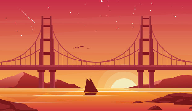 Bridge and boat at sunset flat vector illustration. Beautiful San Francisco landscape, pleasure boat with Golden Gate bridge on background. Sailboat silhouette at dusk. Picturesque evening view.