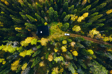 Aerial top view of log cabin or cottage with country road in spring forest in Finland Wall mural