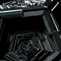 Black abstract sci-fi metallic detail background - 3D Rendering
