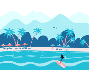 Papiers peints Vert corail Surfing girl on a beach. Palm, sand, ocean on background. Banner, site, poster template with place for your text. Flat vector illustration in blue colors
