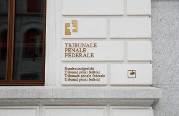 The name of the Swiss Federal Criminal Court (Bundesstrafgericht) is shown in four languages in Bellinzona