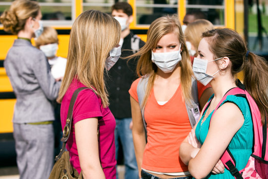 School Students Wearing Medical Face Masks For Protection