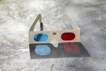 3d glasses on the gray background