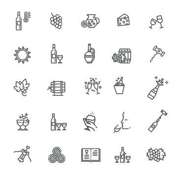 Wine Icons. Vector Illustration. Set of Wine icons