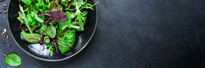Healthy salad, leaves mix salad (mix micro greens, juicy snack) keto or paleo menu recipe. food background, copy space