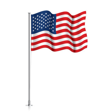 USA flag on a metallic pole.