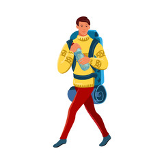Aluminium Prints Superheroes Brown-haired boy traveler in red pants with a tourist backpack. Vector illustration in flat cartoon style.