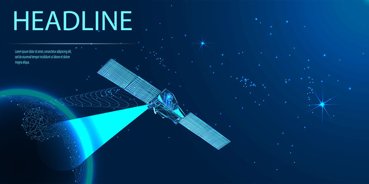 Satellite in orbit of the Earth. View from space. Intelligence service. Low poly wireframe style. Vector