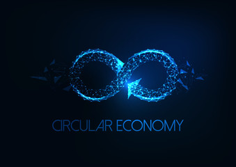 Futuristic circular economy concept with glowing low polygonal infinity sign isolated on dark blue