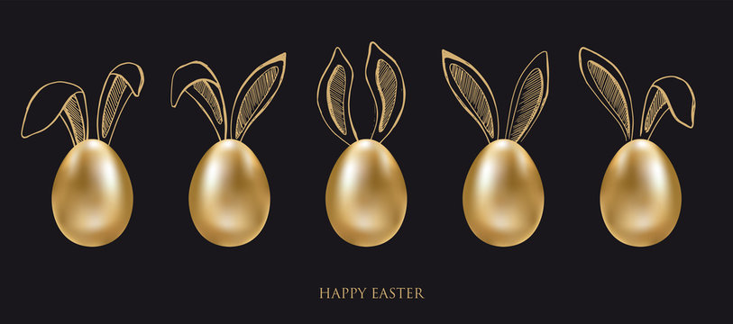 Happy Easter. Set of rabbits's ears. Gold eggs. Hand drawn illustration.