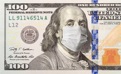 Papiers peints Londres One Hundred Dollar Bill With Medical Face Mask on Benjamin Franklin