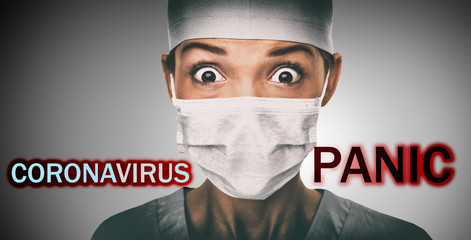 Coronavirus PANIC text title over scared doctor having corona virus epidemic fear wearing face mask as preventive protective measure for pandemic at hospital. Billboard sign funny medical concept.