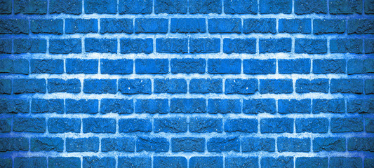 Blue rustic brick wall texture background banner