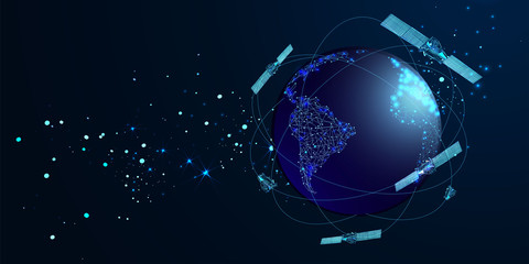 Artificial satellites orbiting the planet Earth in outer space isolated on dark blue background. Communication, navigation concept. Low poly wireframe style. Vector