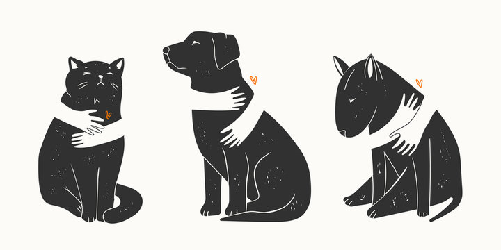 Adopt a Friend. Do not buy a Pet. Human hands are hugging Dogs and Cat. Animal care, adoption concept. Help the homeless animals find a home. Set of three Hand drawn Vector illustrations