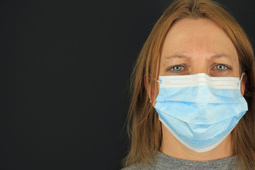 A Female With Watery Eyes Wearing A Surgical Mask. Coronavirus Outbreak Concept.