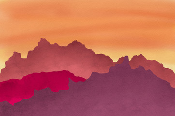 Door stickers Orange Glow Red and orange sunset on artistic canvas texture background