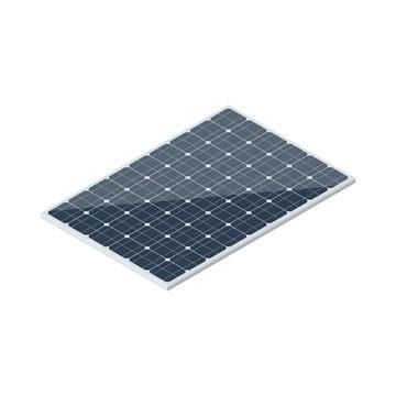 Isometric solar panel isolated on white background. Vector