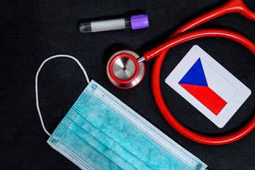 Coronavirus in Czech Republic, Europe, surgical mask with coronavirus, Respiratory, test tube, Czech republic, Prague