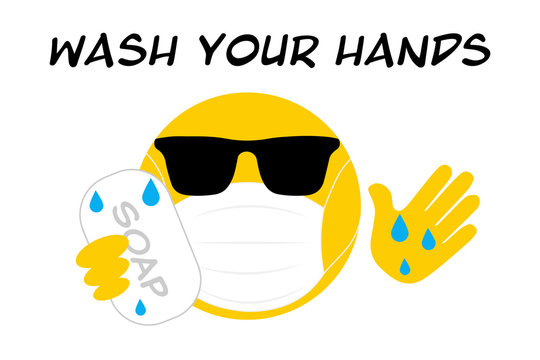wash your hands emoji washing hands with soap wearing sunglasses, face mask, its cool to prevent the spread of virus, coronavirus covid19 concept