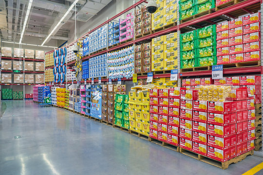 SHENZHEN, CHINA - APRIL 22, 2019: interior shot of Sam's Club store in Shenzhen. Sam's Club is an American chain of membership-only retail warehouse clubs owned and operated by Walmart Inc.