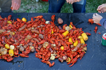 A traditional crawfish boil in New Orleans, Louisiana