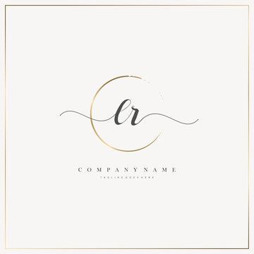 LR Initial Letter handwriting logo hand drawn template vector, logo for beauty, cosmetics, wedding, fashion and business