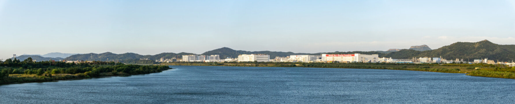 Panoramic view of the both side of Nakdong river in Gumi-Si, South Korea.