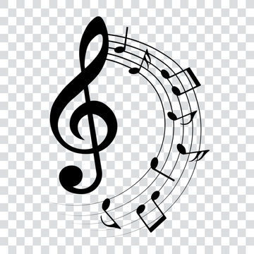 Music notes and treble clef, rounded musical design element, vector illustration.