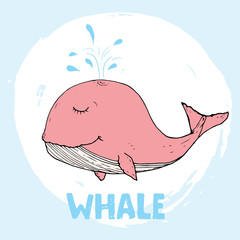 Cute Whale Cartoon Hand Drawn Animal Doodles Vector Illustration Background