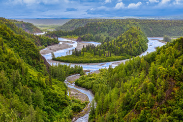Canvas Prints Forest river River Flowing Through a Valley in Boreal Forest, Alaska, USA