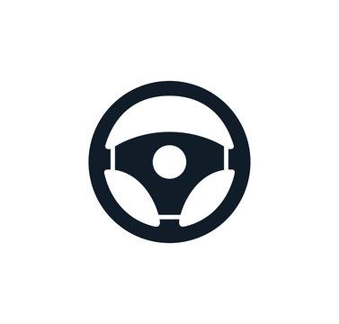 Steering wheel icon vector logo design template