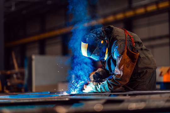 Professional welder with protection mask