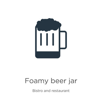 Foamy beer jar icon vector. Trendy flat foamy beer jar icon from bistro and restaurant collection isolated on white background. Vector illustration can be used for web and mobile graphic design, logo,