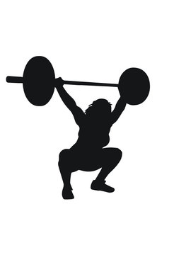 Silhouette girl snatch olympic lifting barbell overhead squat
