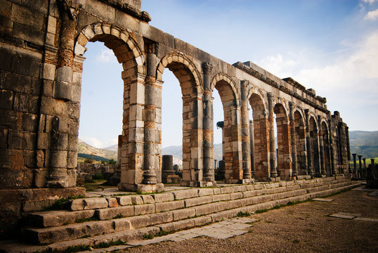Ancient Roman ruins at an archaeological site, Volubilis, Morocco