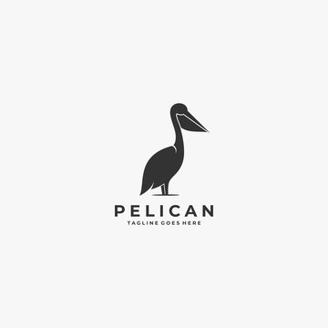 Vector Logo Illustration Pelican Silhouette Style.