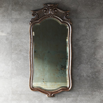 Classic wood carved mirror frame on marble wall background 3d render