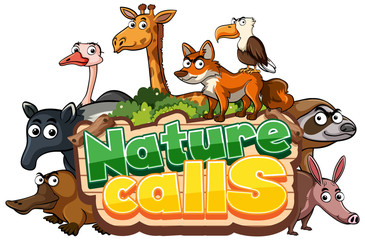 Poster Kids Font design for word natue calls with wild animals in background