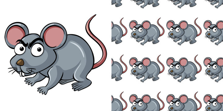 Seamless background design with gray mouse