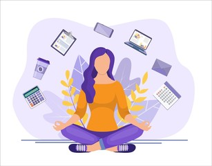 Obraz Business yoga concept. businesswoman meditating, time management, stress relief and problem solving concepts. Business woman sitting and meditating. Vector illustration flat style - fototapety do salonu