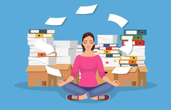 Business woman meditating in lotus pose and pile of paperwork, paper document. Bureaucracy. Worker multitasking. Character doing yoga, get calm at workplace. Relax, meditation. Vector illustration