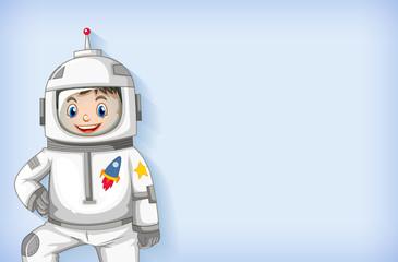 Zelfklevend Fotobehang Kids Plain background template with happy astronaut smiling